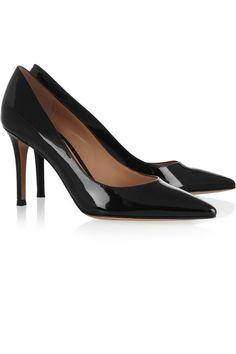 Hand-finished Heel measures approximately 85mm/ 3.5 inches Black patent-leather Leather lining, pointed toe Slip on