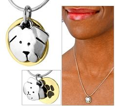 "With a face only everyone in the world could love, our Dog to Love Silver-Plated Necklace practically begs for attention. Highlighted by a paw-engraved brass disk for plenty of pup personality. from ""the animal rescue site"" / I thought this was so cute!  <3"