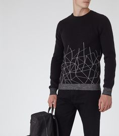 Mens Black Patterned Jumper - Reiss Saw