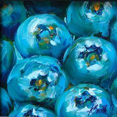 blueberries, original oil painting