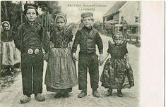 Vintage Illustration of Dutch Children,  (Axelsche boerenkinderen) in Zeeland, Netherlands.