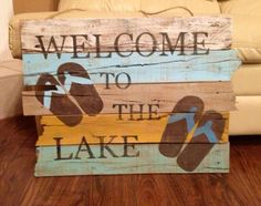 Rustic Lake sign made from reclaimed wood