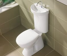 the Caroma Toilet Sink. Dual Flush Toilet Tank with Integrated hand washing basin.