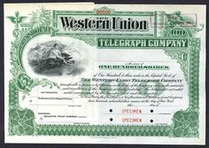 Western Union Telegraph Co. New York, NY. 19xx (ca.1900), 100 Shares, Capital Stock, Specimen,