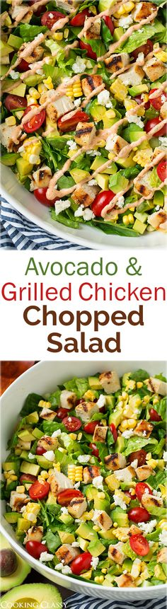 A super healthy and easy recipe to make! Avocado and Grilled Chicken Chopped Salad with Skinny Chipotle-Lime Ranch - I could eat this salad every single day! Used the left over ranch to dip chicken tenders in. - from Cooking Classy Healthy Snacks, Healthy Eating, Healthy Recipes, Kale Recipes, Delicious Recipes, Tasty, Soup And Salad, Chicken Recipes, Dinner Recipes