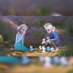 I love this picture, it's just so adorable <3 Elsa and Jack playing with snowgies.