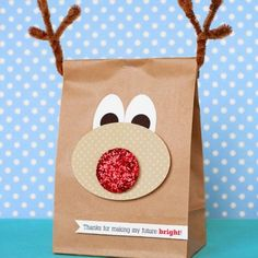 Reindeer Bag:  I did this for a kindergarten class.  The kids liked the bags just as much as the stuff in them.