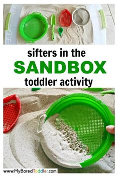 Sifters in the Sandbox Toddler Activity -- a simple sensory bin for 1 year olds 2 year olds 3 year - Preschool activities - Quiet Toddler Activities, Summer Activities For Toddlers, Outdoor Activities For Kids, Toddler Play, Infant Activities, Toddler Crafts, Learning Activities, Camping Activities, Sensory Play