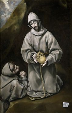 'El Greco (and Workshop) San Francisco De Asis Y El Hermano Leon Meditando Sobre La Muerte 1600 14 ' Oil Painting, 20 X 31 Inch / 51 X 80 Cm ,printed On Polyster Canvas ,this Imitations Art DecorativePrints On Canvas Is Perfectly Suitalbe For Dining Room Spanish Painters, Spanish Artists, Francis Of Assisi, St Francis, Illumination Art, Creta, Biblical Art, Early Christian, National Gallery Of Art