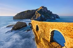 San Juan de Gaztelugatxe Climb across the bridge and up the 241 steps to the top of San Juan de Gaztelugatxe — a must-see when visiting Basque Country in Spain. When you reach the church at the top, ring the bell The Places Youll Go, Places To See, San Pedro, Places In Spain, Stock Image, Basque Country, Spain And Portugal, Spain Travel, Malaga