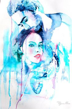 Original Watercolor Painting. Wall art Portrait by TatyanaIlieva