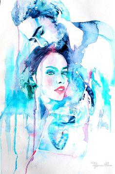 Original Watercolor Painting. Wall art  Portrait by TatyanaIlieva