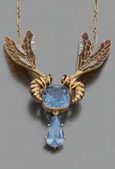 A gold, plique-à-jour enamel, diamond and blue stone pendant necklace, probably Art Nouveau.
