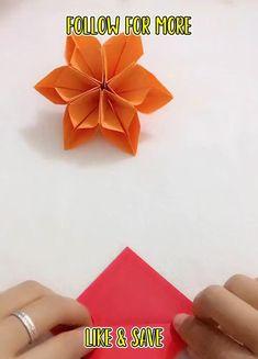 Instruções Origami, Origami And Kirigami, Paper Crafts Origami, Diy Paper, Paper Flowers Craft, Paper Crafts For Kids, Flower Crafts, Diy Crafts, Diy Lace Ribbon Flowers