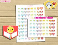 Kawaii Weather tracker. Printable planner stickers for Erin condren or Happy planner. #kawaii #printables