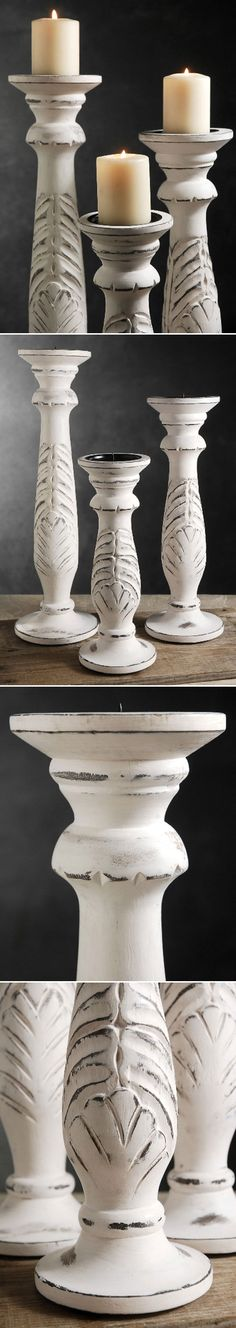"""DISTRESSING :: These wood pillars have one of my favorite types of finishes on them. Paint the pieces your base color (in this case black or very dark gray). Then paint over it with white. Sand the areas that would get the most """"wear"""" or the tops of the detailing that stand out...to let the base color peek thru. You can use 2 layers of base color, too so get depth. 