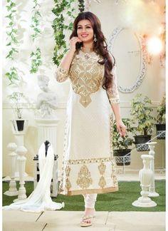 Ayesha Takia Embroidered White Long Salwar Kameez