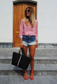 @roressclothes clothing ideas #women fashion striped shirt, denim shorts, red heels