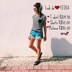 Dia lindo para um lindo look de Terça-feira❤️ #jeans #muitoamor #listrado #promo #melissa #lojaamei #t-shirt #dialindo