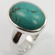 925 Sterling Silver Genuine TURQUOISE Gemstone Trendy Ring Size US 6.75 Handmade #SunriseJewellers #Fashion