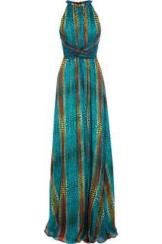 perfect color, fashion, style, print dress, maxi
