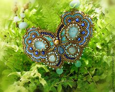 Blue butterfly - Necklace with natural aquamarine and bronze beads. Necklace Bead Embroidery Art