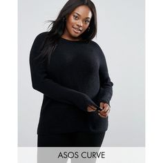 ASOS CURVE Ultimate Chunky Jumper ($35) ❤ liked on Polyvore featuring tops, sweaters, black, plus size, jumpers sweaters, women's plus size sweaters, chunky oversized sweater, asos curve and chunky jumper