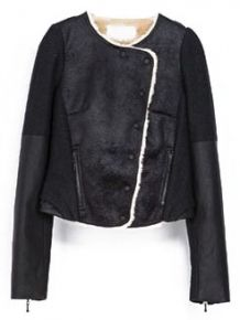 Black Long Sleeve Zipper Crop Fur Jacket