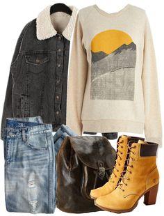 Kin Ship sweatshirts hoody / Jean jacket, $190 / J.Crew jeans / Timberland leather shoes / Patricia nash bag