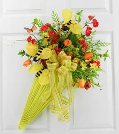 Bee and Butterfly Spring Umbrella – MilandDil Designs Umbrella Wreath, Umbrella Decorations, Spring Wreaths For Front Door Diy, Summer Wreath, Faux Flowers, Spring Crafts, Floral Arrangements, Fall Decor, Burlap Wreaths