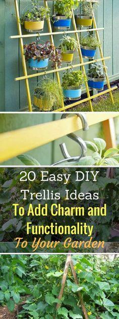 20 Easy DIY Trellis Ideas To Add Charm and Functionality To Your Garden 20 einfache DIY-Gitter-Ideen Pergola Patio, Diy Patio, Pergola Plans, Patio Ideas, Pergola Ideas, Backyard Ideas, Cheap Pergola, Pea Trellis, Garden Trellis