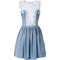 ERMANNO SCERVINO Light Blue Cotton-Linen Lace Detailed Dress (£583) ❤ liked on Polyvore featuring dresses, vestidos, short dresses, robes, lace up dress, blue dress, western dresses and ruched mini dress