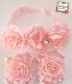 Pink Barefoot baby sandals and headband set ,Ready to ship.