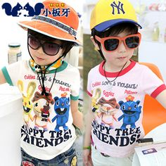 2013 summer korean childrens cartoon childrens baby boy bunny letters printed short-sleeved t-shirt 6236 only $6.42USD a Piece