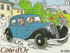 Les criminels prennent la fuite en Traction Avant - Autocollant Côte d'Or par Herge