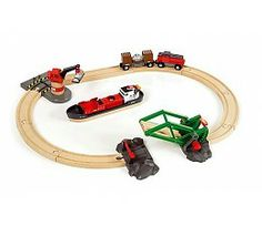 Shop BRIO Cargo Harbour Set 33061 16 Piece Wooden Raiway Set - Great value. One of many items available from our Toy Trains & Train Sets department here at Fruugo! Zeppelin, Brio Train Track, Brio Bahn, Toddler Christmas Gifts, Starter Set, Train Set, Train Tracks, Toys Shop, Model Trains