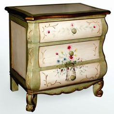 Three Drawer Nightstand in Ivory - $377.99