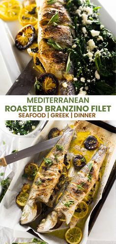 This recipe for whole Greek roasted branzino is perfect for a simple and healthy weeknight meal that requires almost zero clean up! Full of bright lemon and earthy oregano, this fish recipe will transport you to a seaside taverna in Greece. #healthyrecipes #cleaneating #healthydinnerrecipes #fishrecipes #greekfood