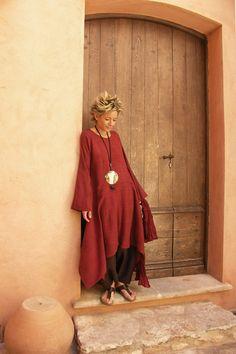 Raw silk tunic dark red color