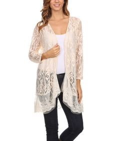 Another great find on #zulily! Gray & White Crochet-Cross Tunic - Plus Too #zulilyfinds