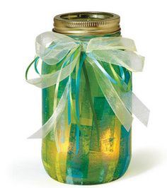 Tissue paper + Mod Podge + Ball jar + LED votive candle = The perfect mood lighting :) #wedding #holidays