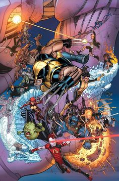 X-Men | So many characters in this, like Warbird, Glob Herman, Kid Omega, etc. AWESOME pic.