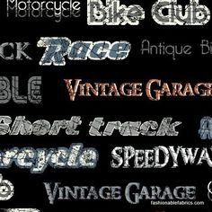 Fabric... Retro Riders Biker Words on Black by Windham Fabrics