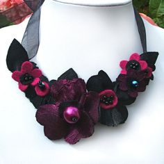 Pink and Black Fabric Flowers Ribbon Necklace, Dark Magenta Statement Necklace, Black and Pink Wedding, Special Occasion Jewellery