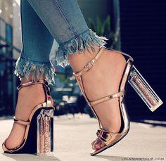 Aneikeh Transparent High Heel Sandals 2018 New Summer Women Sexy Party Wedding Zipper Thick Heel Pumps Sandals Golden Stilettos, Thick Heels Pumps, Black High Heels, Pumps Heels, Jeans Heels, Prom Heels, Chunky Heels, Golden Sandals, Leather Gladiator Sandals