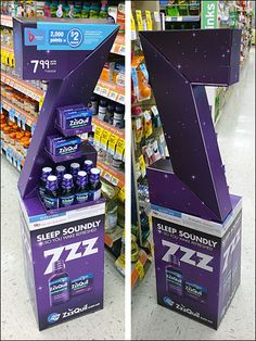 ZzzQuil Corrugated Z 3D Dimensional Point-of-Purchase Display Front and Back