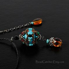 Turquoise Beadwoven Pendant by BeadCatcher on Etsy
