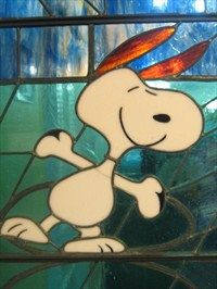 A stained glass Snoopy! I need this!