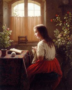 Johann Georg Meyer von Bremen An Afternoons Amusements oil painting for sale; Select your favorite Johann Georg Meyer von Bremen An Afternoons Amusements painting on canvas or frame at discount price. Reading Art, Woman Reading, Reading Books, Art And Illustration, Charles Edward, Art Ancien, Knit Art, Painting Of Girl, Oeuvre D'art
