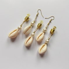 Mermaid Earrings with Cowrie Shells, Hair Jewellery, Gold Jewelry for Braids, Dangle Hair Beads, Beach Wedding, Wedding Hair Accessories by IvoStyleLine on Etsy